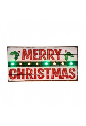 SIGN 8 LED (MERRY CHRISTMAS) WOODE