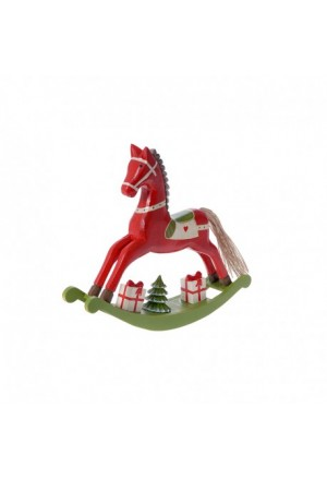 HORSE RED-GREEN WOODEN 28Χ5,5Χ24