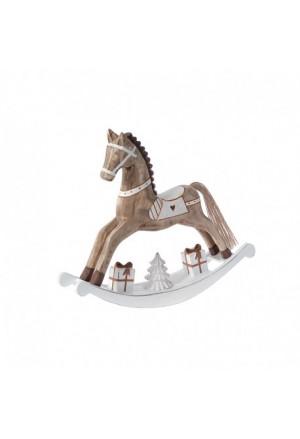 HORSE BROWN WOODEN 28Χ5Χ24 ROCKING