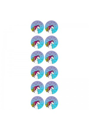 Magical Unicorn Circle Stickers