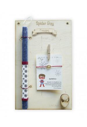 Λαμπάδα Spider Boy σε ξύλινο Κάδρο