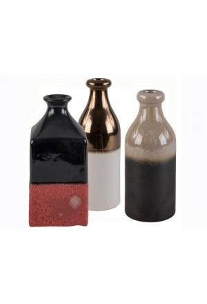 Σετ των 3 μπουκάλια 2-Tone κεραμικά