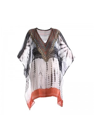 KAFTAN/DRESS IN BLACK/WHITE/RED COLOR
