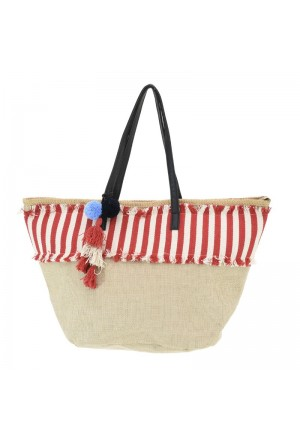 STRAW BEACH BAG NAVY