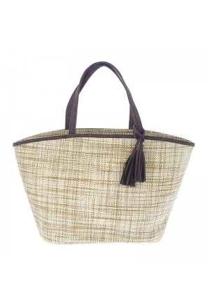 STRAW BEACH BAG BROWN TASSEL