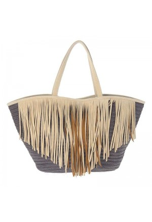 STRAW BEACH BAG BROWN FRINGES