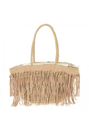 STRAW BEACH BAG FRINGES