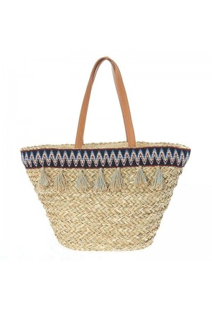 STRAW BEACH BAG TASSELS