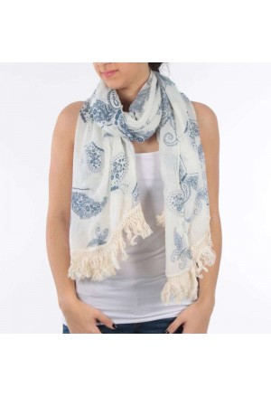 SCARF/PAREO IN WHITE/BLUE COLOR