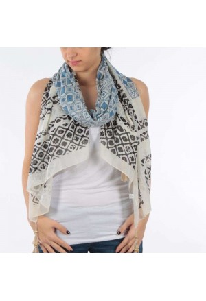 SCARF/PAREO BLUE/WHITE COLOR