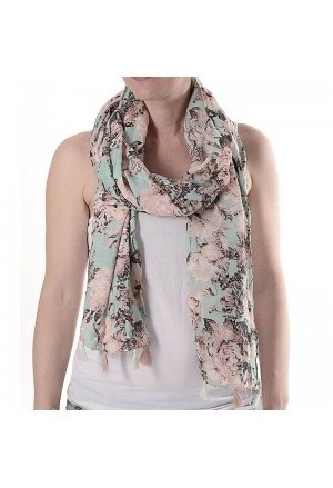 SCARF MINT COLOR W/PINK FLOWERS