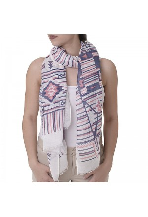 SCARF/PAREO W/RED-BLUE PRINT