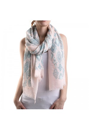SCARF/PAREO-PINK W/ BLUE PRINTS