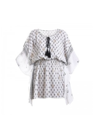 KAFTAN IN WHITE COLOR WITH BLUE-GOLD PRINTS