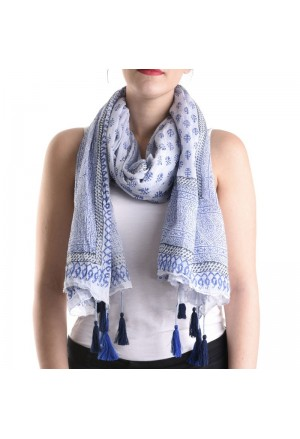 SCARF/PAREO IN BLUE COLOR WITH PRINTS