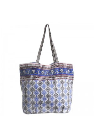 FABRIC BAG IN WHITE COLOR WITH PRINTS