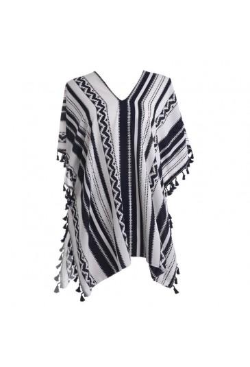 Φόρεμα Καφτάνι Άσπρο-Μπλέ με φούντες