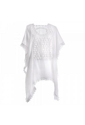 Φόρεμα Καφτάνι Άσπρο με Δαντέλα