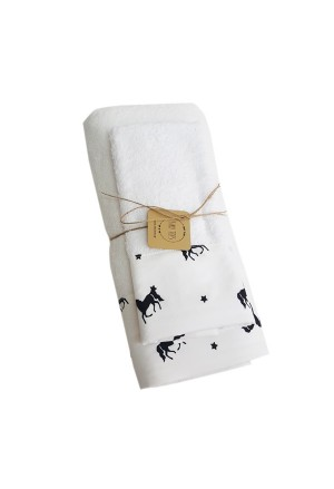 SET TOWEL UNICORN WHITE-BLACK