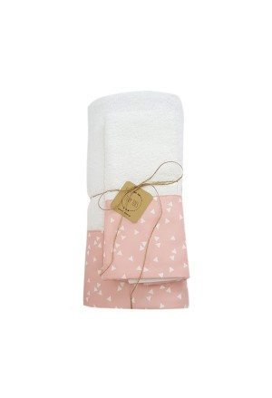 SET TOWEL TRIANGLES WHITE-PINK