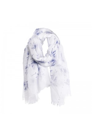 SCARF/PAREO IN WHITE/BLUE COLOR WITH GLITTER