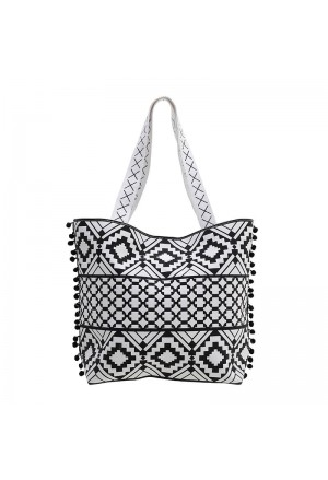 STRAW BEACH BAG WHITE-BLACK COLOR