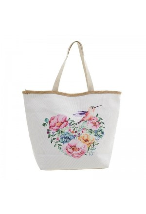 STRAW BEACH BAG WITH FLOWERS