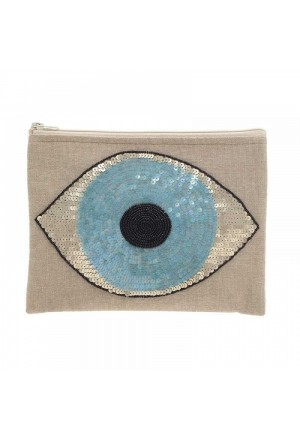 SMALL BAG BEIGE WITH BLUE EYE