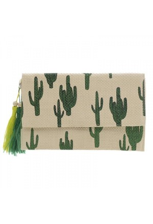 SMALL BAG BEIGE WITH GREEN CACTUS