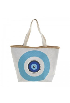 STRAW BEACH BAG IN WHITE WITH BLUE EYE