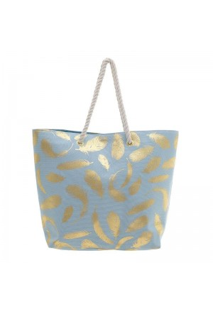 STRAW BEACH BAG IN BLUE WITH GOLD PLUMAGE