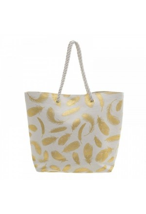 STRAW BEACH BAG IN WHITE WITH GOLD PLUMAGE