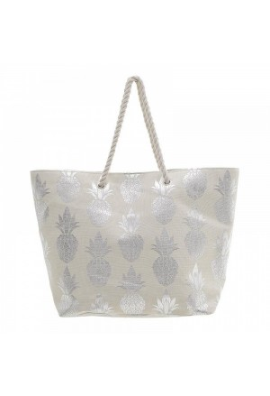 STRAW BEACH BAG IN WHITE WITH SILVER PINEAPPLE