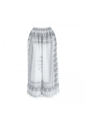 LONG PANTS IN WHITE/BLUE COLOR PRINTS