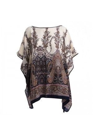 KAFTAN/BLOUSE IN WHITE COLOR WITH BLACK PRINTS