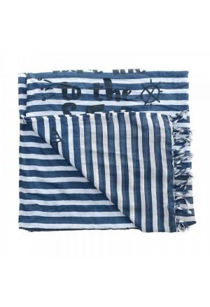 Πετσέτα Θαλάσσης Βαμβακερή Ριγέ Μπλέ
