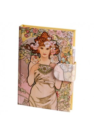 MUCHA Notepad striped 11x16cm